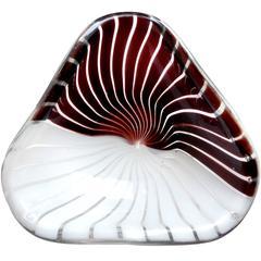 Dino Martens Aureliano Toso Murano Black White Italian Art Glass Dish Bowl