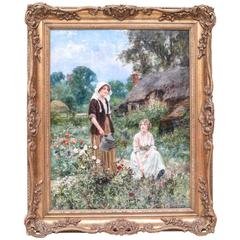 """""""Watering the Garden"""" Oil on Canvas Painting by Henry John Yeend King"""
