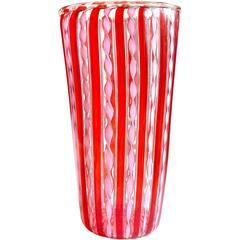 Murano Red Stripes Pink Ribbons Gold Flecks Italian Art Glass Flower Vase