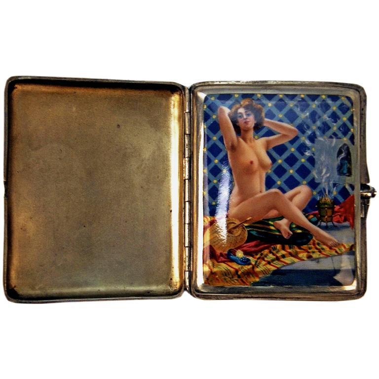 Silver Erotica Cigarette Case Enamel Painting Vintage Nude in Bathroom c.1890