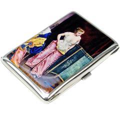 Silver Erotica Cigarette Case Enamel Painting Vintage Lady in Boudoir c.1880