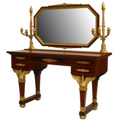 French Second Empire Mahogany Dressing Table with Candelabra