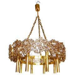 Wonderful Large Palwa Chandelier Gilded Brass and Crystal Lamp with Eight Lights