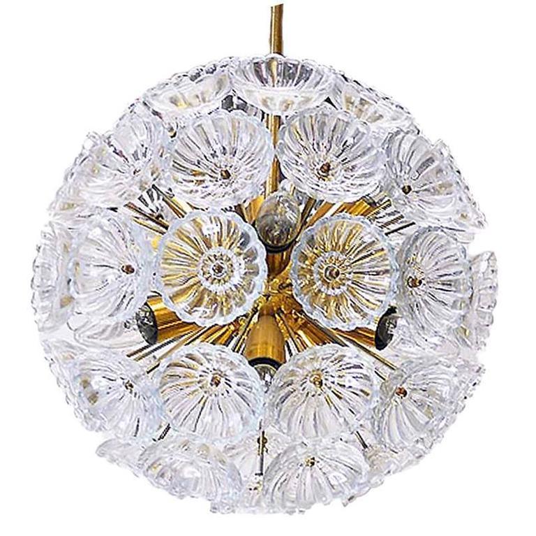 Starburst Chandelier Sputnik Lamp Glass Flower Pusteblume Germany, 1960s
