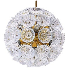 1960 Germany VEB Sputnik 'Dandelion' Chandelier Glass Flowers & Brass