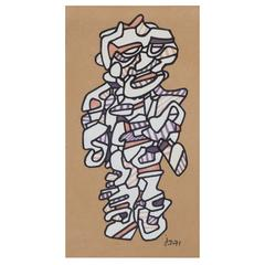"""Jean Dubuffet '1901-1985,' """"Personnage 1971,"""" Marker Pen on Paper, Signed"""