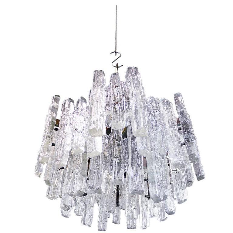Large J.T. Kalmar Flush Mount Murano Ice Glass 18 Lights Chandelier 1960s  sc 1 st  1stDibs & Large J.T. Kalmar Murano Ice Glass Chandelier Ceiling Lamp Austria ...