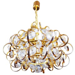 1960 Germany Gaetano Sciolari Sputnik Chandelier Gilt-Brass & Crystal by Palwa