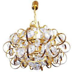 Palwa Sputnik Chandelier Gold-Plated Crystal Pendant Lamp, Germany