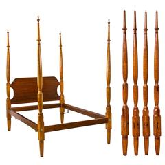 Figured Tiger Maple Tall Post Bed, Probably Pennsylvania, Early 19th Century