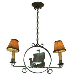Swedish Folk Art Viking Themed Ceiling Light