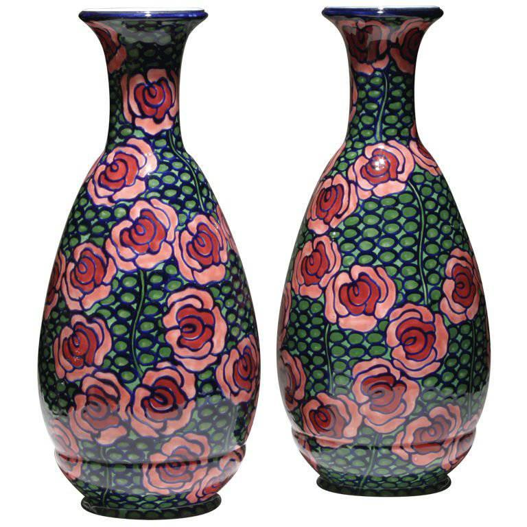 Pair of Red and Green Art Nouveau Vases  For Sale
