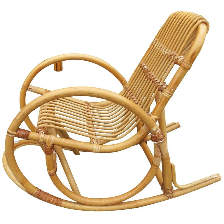 Restored Rare Snake Arm Rattan Rocking Child Chair