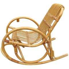 Restored Rare Child's Snake Arm Rattan Rocking Chair