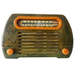 "Fada Model 659 ""Superheterodyne"" Marble Green and Caramel Catalin Tube Radio"