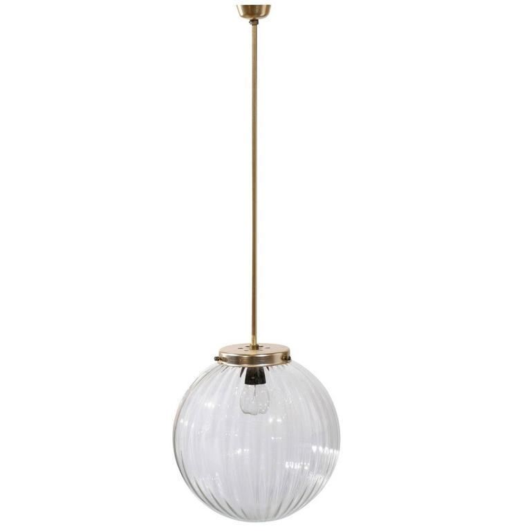 Vintage Belgian Glass Single Light Globe Pendant with Metal Rod