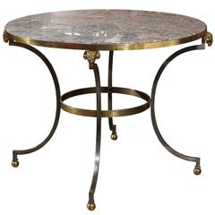 French Directoire Style Mid 20th Century Steel, Brass and Marble Top Round Table