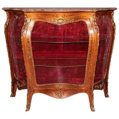 19th Century French Hand-Painted Vitrine Cabinet
