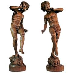 Pair of 19th Century Italian Carved Wood Figure Sculptures