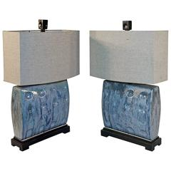 1960s Mid-Century Ceramic Lamps with Linen Shades