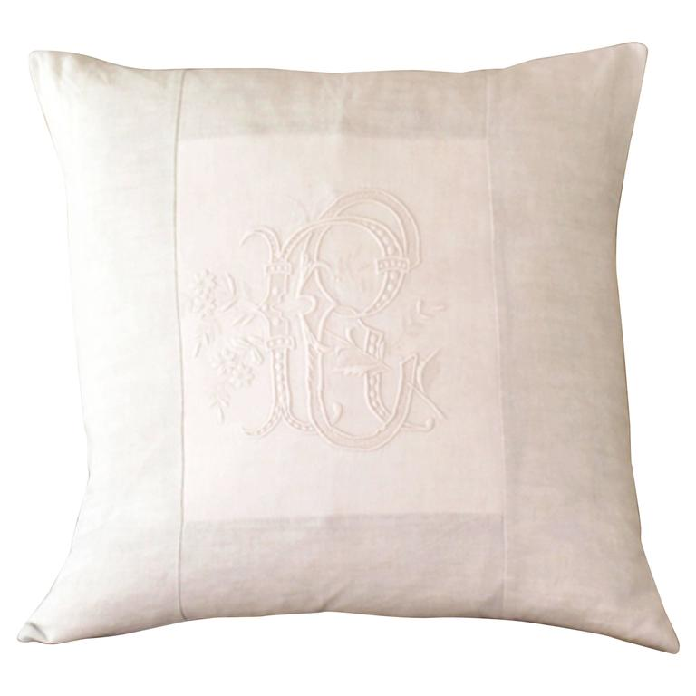 Large Antique Linen and Embroidery Monogrammed Cushion (RC)