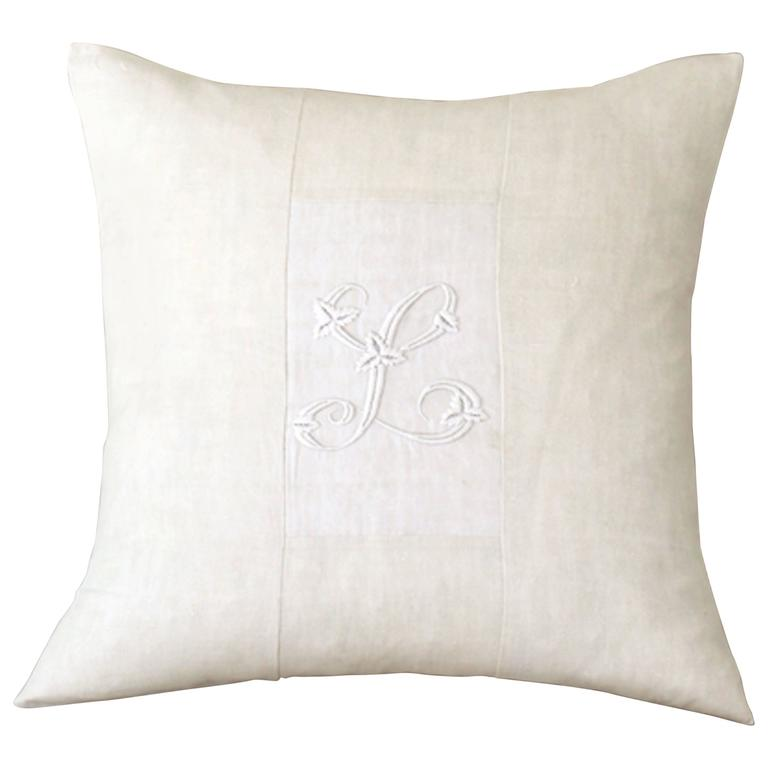 Large Antique Linen and Embroidery Monogramed Cushion, L