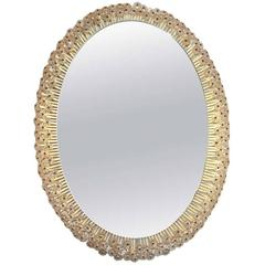 Large Illuminated Oval Mirror with Petals, 1960s Enquire/Purchase Large Il