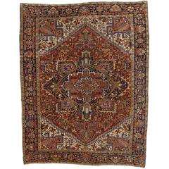 Vintage Persian Heriz Rug with Traditional Modern Style