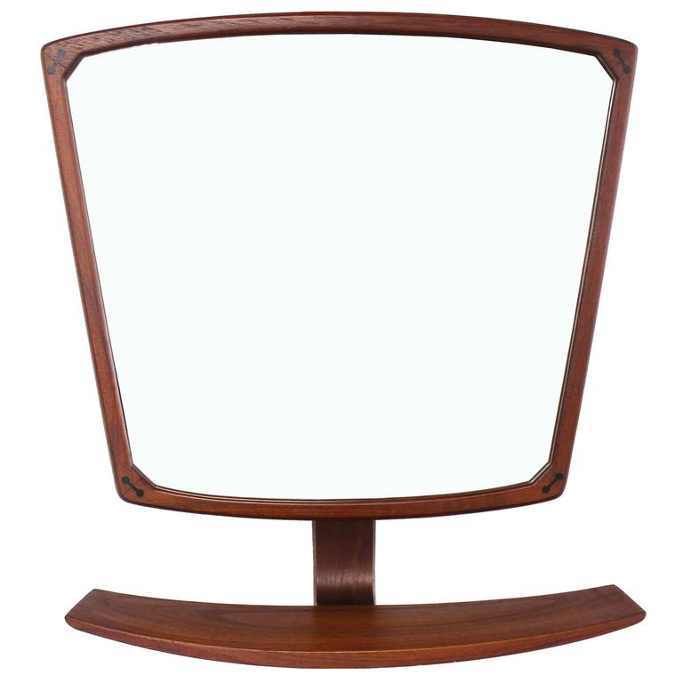 Danish Mid Century Modern Adjule Wall Mirror With Shelf