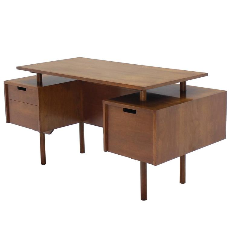 Mid Century Modern Glenn Of California Suspended Top Walnut Desk