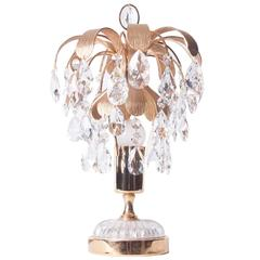 1960s One-Light Brass & Crystal Glass Table Lamp by Palwa
