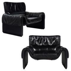 Vintage De Sede Pair of Black Leather Armchairs