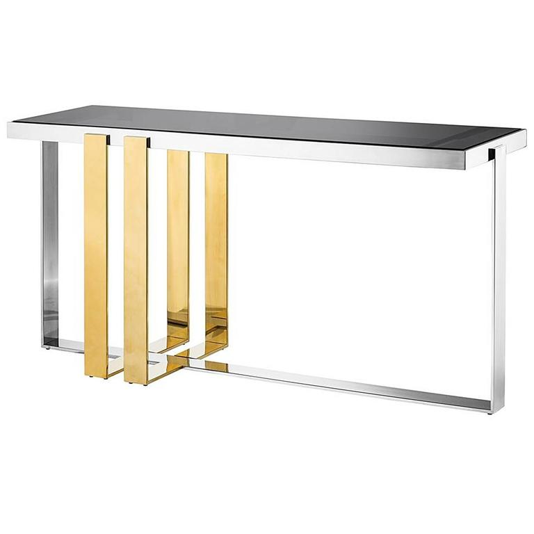 Caprio Console Table in Stainless Steel and Gold Finish