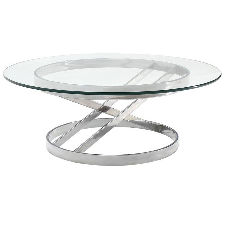 Chrome Base Glass Top Mid-Century Modern Coffee Table