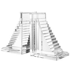Stairs Book End Set of Two in Crystal Glass