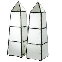 Cairo Obelisk Set of Two in Antique Mirror Glass