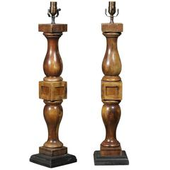 Pair of Brown Stained Wood Turned Banister Table Lamps