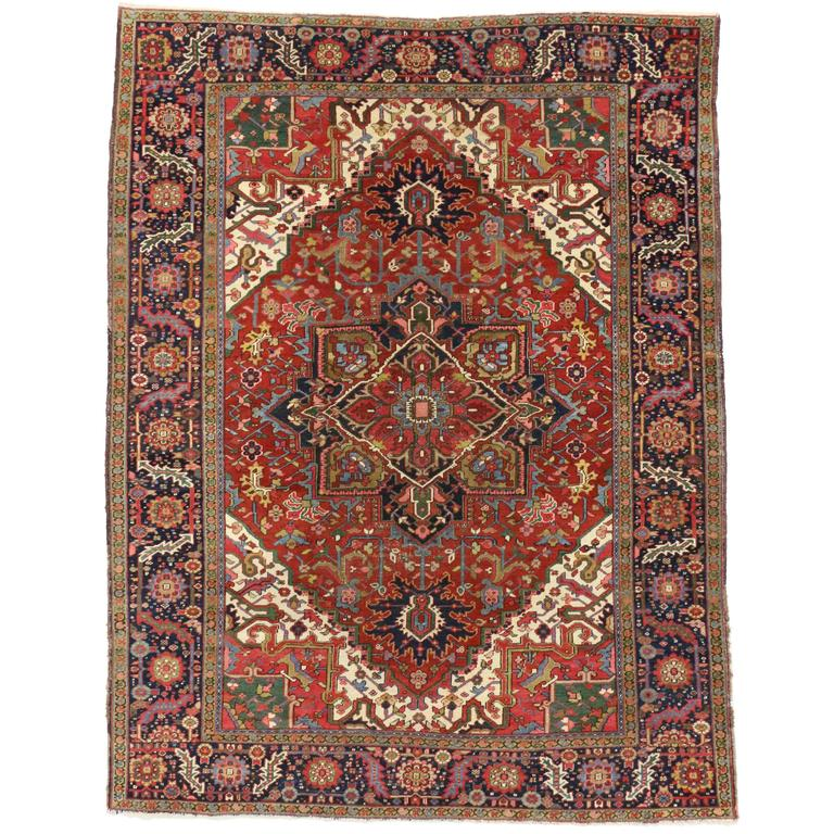 Vintage Persian Heriz Rug With Modern Style For Sale At