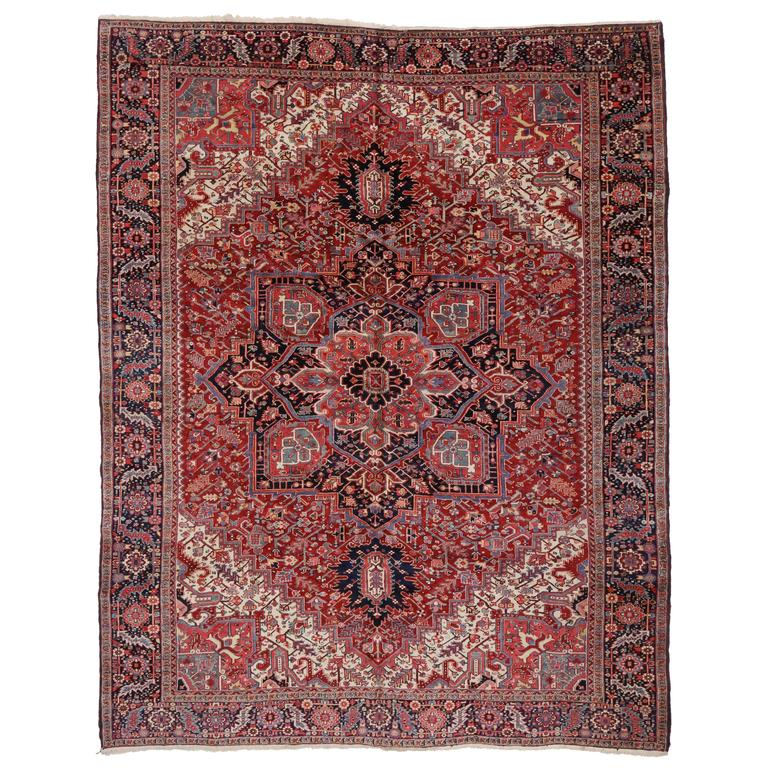 Semi-Antique Persian Heriz Rug with Modern Style