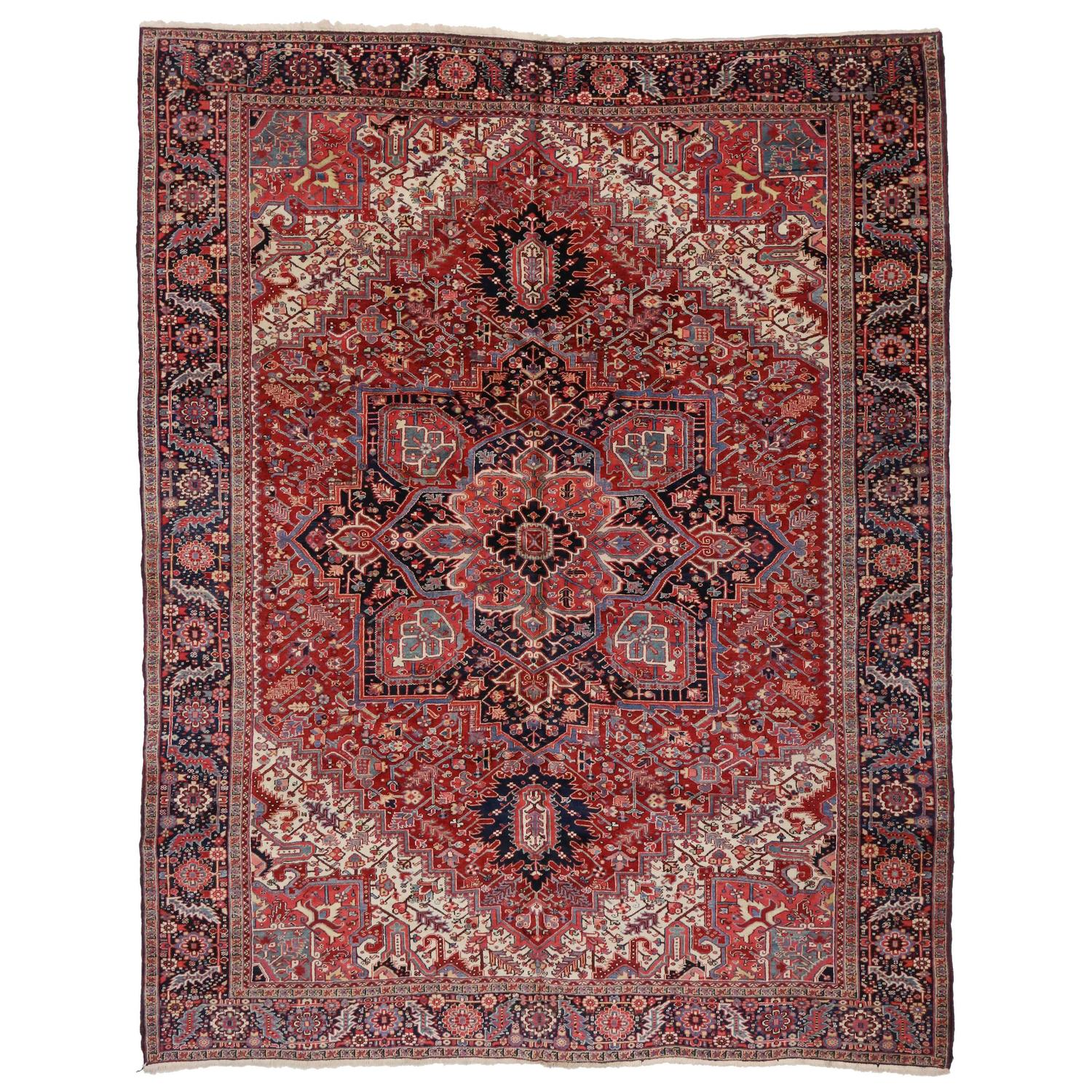 Semi-Antique Persian Heriz Rug With Modern Style For Sale
