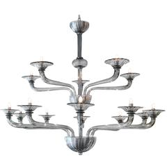 Murano Smoked Grey Glass Chandelier