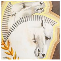 """Rearing Horses,"" High Style Pair of Art Deco, Mixed-Media Pieces by Von Liski"