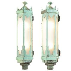 Pair of Monumental Art Deco Copper Sconces, circa 1930