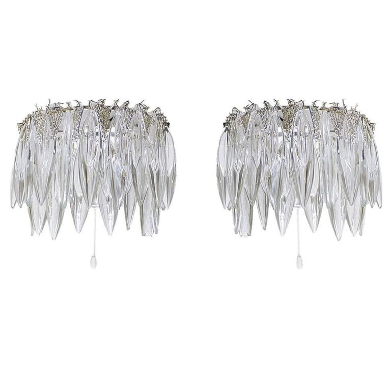 Pair of Crystal Glass Wall Sconces by Bakalowits & Sons 1