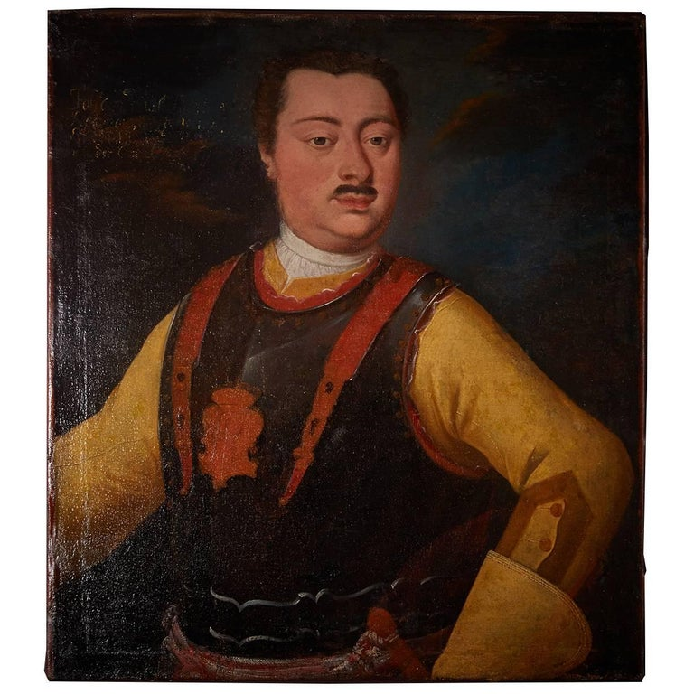 Portrait of a Noble Gentleman Wearing Breastplate, Oil on Canvas, 18th Century For Sale