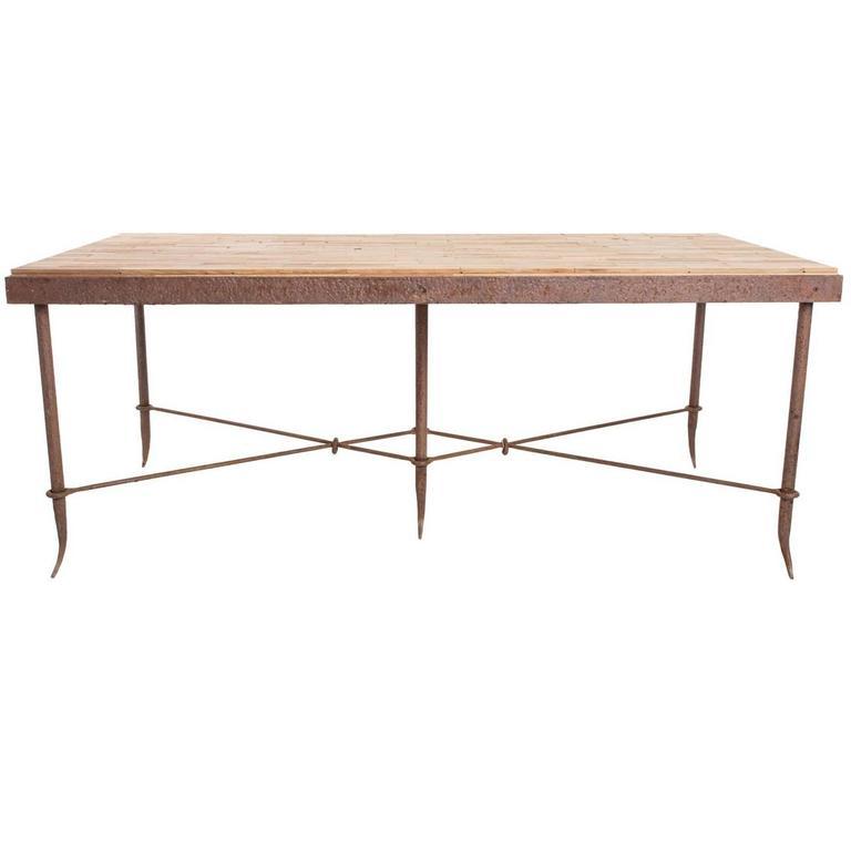 Wood Block Work Table At 1stdibs