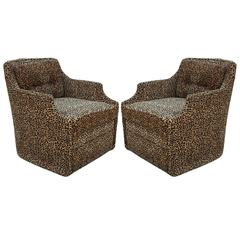 Luxe Pair of Modern Swivel Lounge Chairs in Leopard