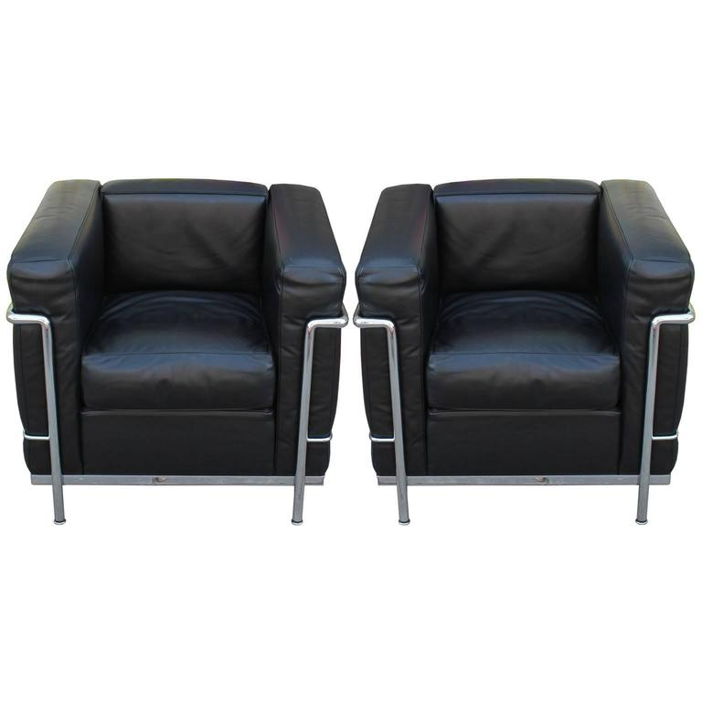 pair of le corbusier for cassina lc2 club chairs at 1stdibs. Black Bedroom Furniture Sets. Home Design Ideas