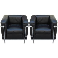 Pair of Le Corbusier for Cassina LC2 Club Chairs