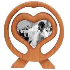 Arts and Crafts Italian Large Cherry Wood Picture Frame, Wood Heart
